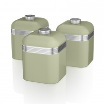 Swan Retro Set Of 3 Canisters, Light Green
