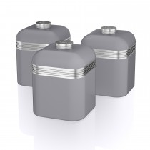 Swan Retro Set Of 3 Canisters, Grey