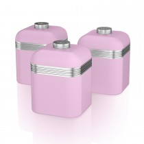Swan Retro Set Of 3 Canisters, Pastel Pink