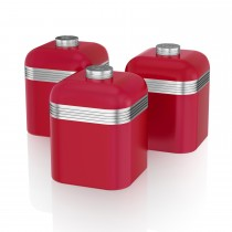 Swan Retro Set Of 3 Canisters, Red