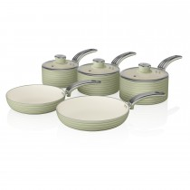 Swan Retro 5 Piece Pan Set, Light Green