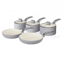 Swan Retro 5 Piece Pan Set, Grey