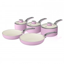 Swan Retro 5 Piece Pan Set, Pastel Pink