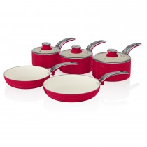 Swan Retro 5 Piece Pan Set, Red