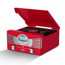 Akai Usb 4-in-1 Retro Turntable, Red