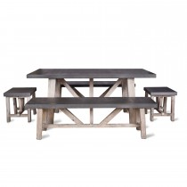 Garden Trading Chilson Table And Bench Set Small, Cement