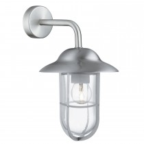 Outdoor Wall Bracket Glass Shade, Satin Silver