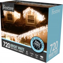 Festive 720 Snowing Icicle Led Lights, White