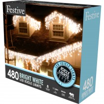 Festive 480 Snowing Icicle LED Lights, Bright White