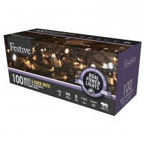 Festive 100 Dual Power Lights, White Mix