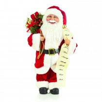 Casa Standing Santa With List, Red