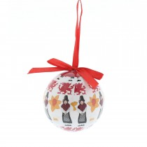Festive Decoupage Welsh Icon Hanging Bauble, Red