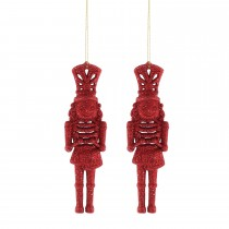 Festive Glitter Nutcrackers, Red