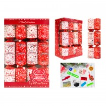 "12 Family Christmas Crackers 12"", Red"