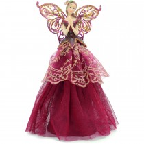 Festive Burgundy Angel Tree Topper, Red