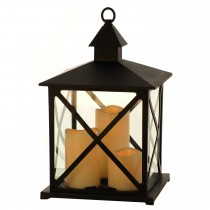 Festive Triple Candle Lantern, Black