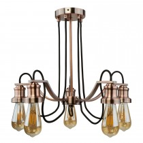 5 Light Ceiling Braded Fabric, Antique Copper