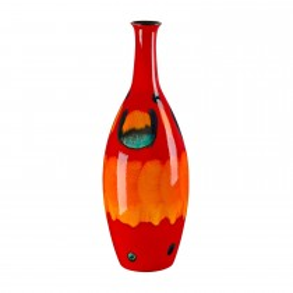 Poole Pottery Volcano Tall Bottle Vase 26cm, Orange