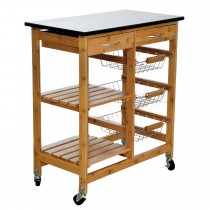 Casa Kitchen Trolley W Granite Top, Black