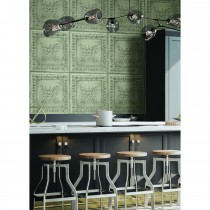 Fine Decor Res Ornamental Tin Ceiling, Pale Green / Silver