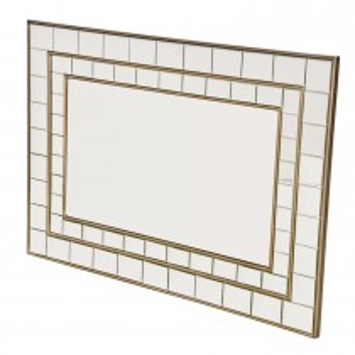Casa Inlaid Rectangular Wall Mirror, Silver