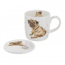 Portmeirion Pug Love Mug, Brown