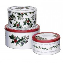 Portmeirion Holly & The Ivy Set 3 Tins, Green
