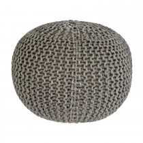 Casa Knitted Pouffe, Metalic Grey