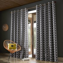 Orla Kiely Linear Stem Curtains, Charcoal