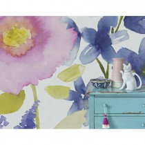 Bluebellgray Florrie Mural Wallpaper, Blue/ Pink