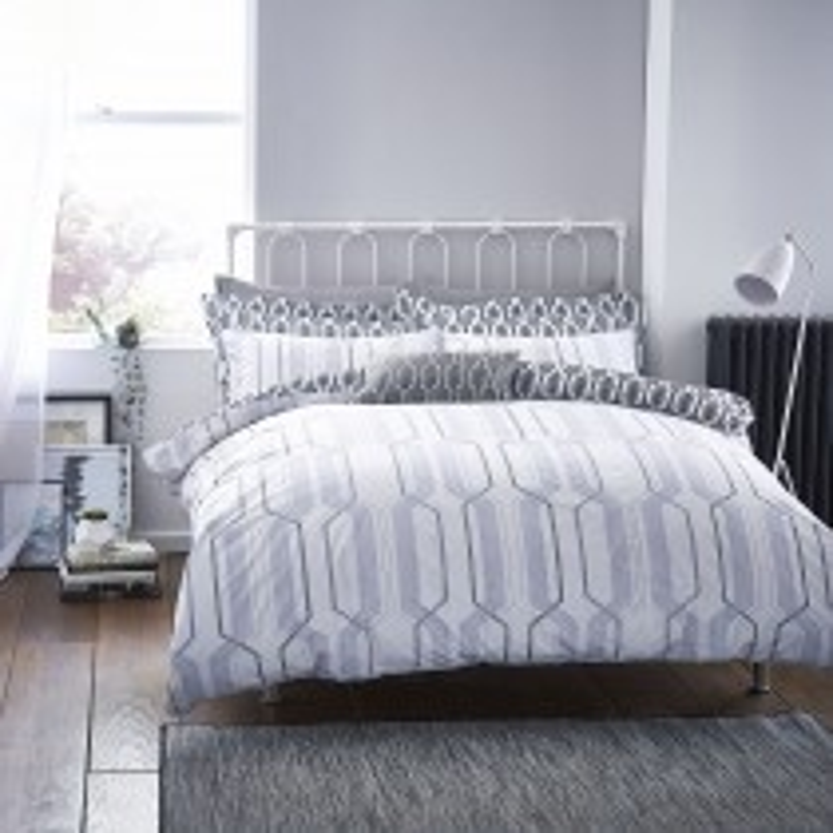 Bianca Geo Cotton Duvet Set, Double, Grey