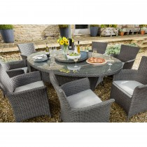 Casa 8 Seater Oblique Dining Set, Slate/ Stone