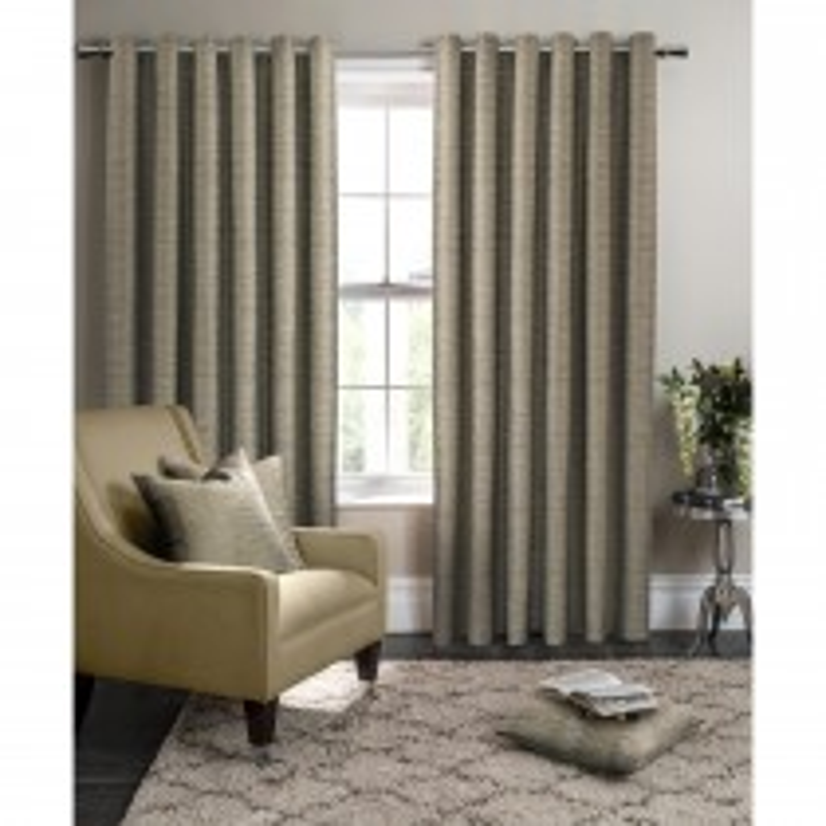 Clarke & Clarke Campello Eyelet Curtain 66x72, Olive