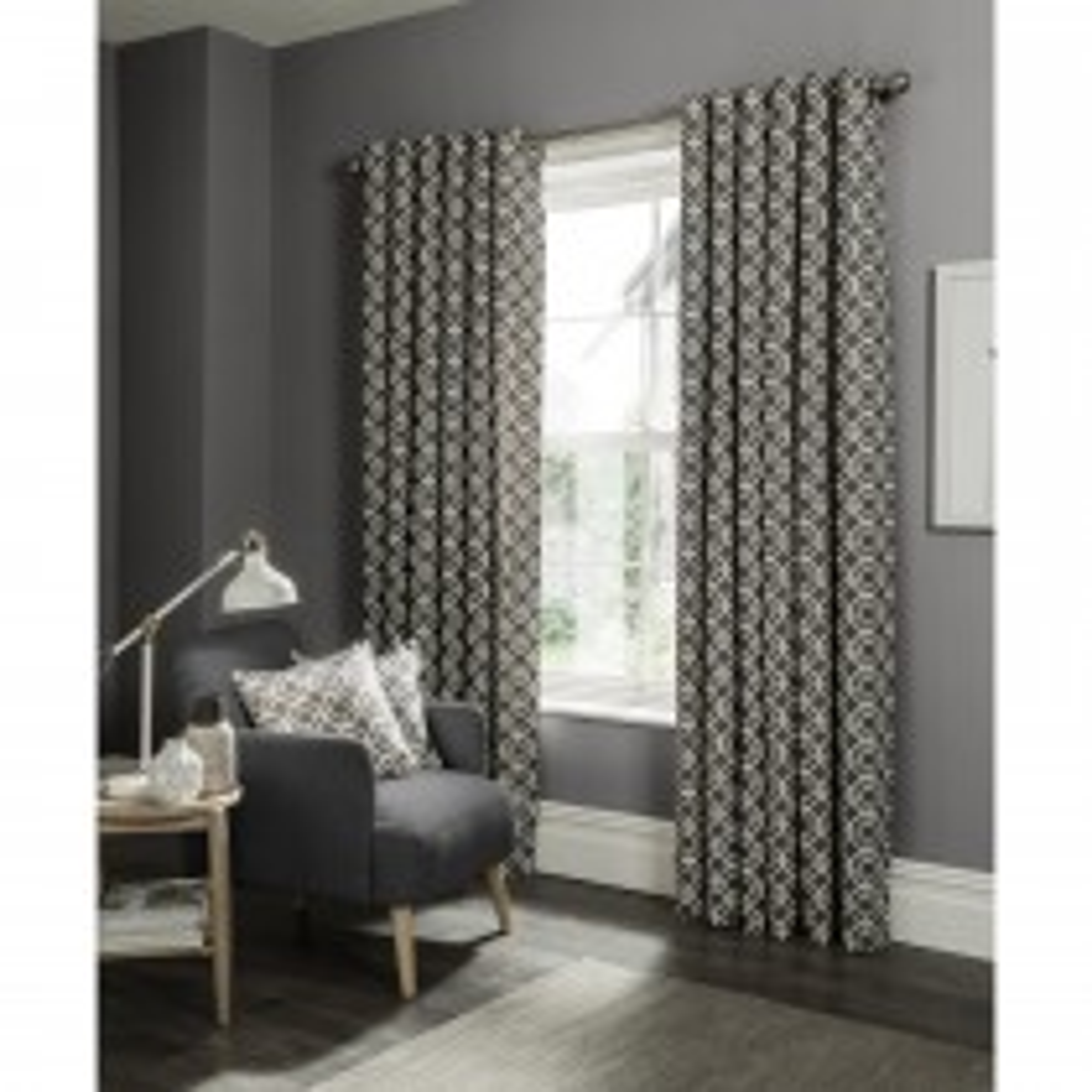 Clarke & Clarke Castello Eyelet Curtain 46x90, Charcoal