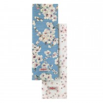 Cath Kidston Set Of 3 Tea Towels, Wellesley Blossom Print, Soft Blue