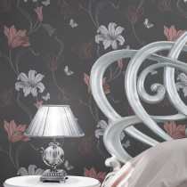 Muriva Amelia Floral Wallpaper, Charcoal & Rose