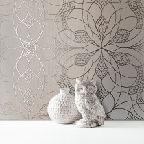 Muriva Eve Floral Geometric Wallpaper, Stone & Gold