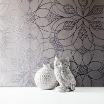 Muriva Eve Floral Geometric Wallpaper, Gunmetal