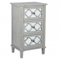 Casa Puglia 3 Drawer Unit, Grey Mirrored