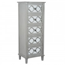 Casa Puglia 5 Drawer Tall Boy, Grey Mirrored