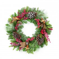 Casa 50cm Natural Frosted Wreath, Brown, Green