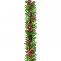 Casa 1.8m Natural Frosted Garland, Brown, Green