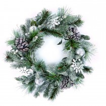Casa 55cm Frosted Wreath, White, Green