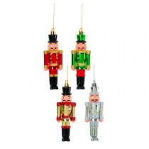 Casa 12cm Nutcracker Trim In Cdu, Red, Green, Gold, Silver