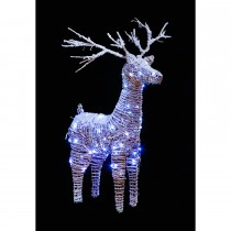 Casa 83cm Rattan Reindeer With Snow, Brown, White