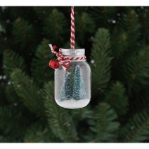 Festive Mini Glass Bottle Hanging Decoration, Clear