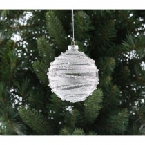 Festive Glitter Glass Ball Hanging Decoration, Silver