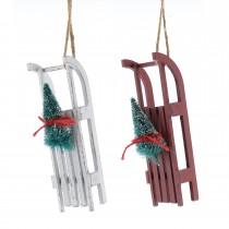 Festive Wooden Sleigh Hanging Decoration, White/Red
