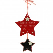 Festive Wooden Twin Star Hanging Decoration, Red