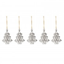 Festive Silver Metal Tree Hanging Decoration, Silver